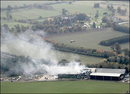 Aerial view of Warwickshire warehouse fire