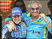 Fernando Alonso (left) with former boss and Renault team manager Flavio Briatore