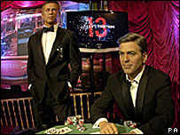 George Clooney and Brad Pitt waxworks