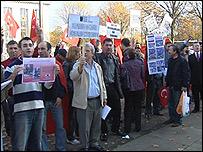Protestors in Cardiff