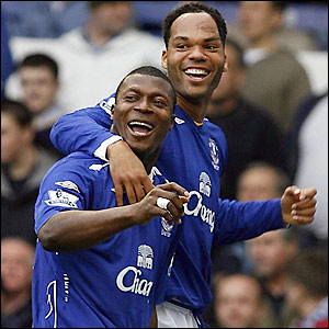 Joleon Lescott congratulates Yakubu on his goal
