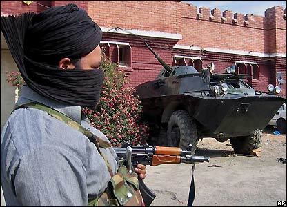 Militant outside captured police station in Matta, Swat district, north-west Pakistan - 3/11/2007