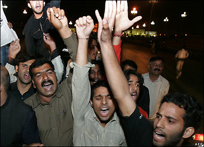 Musharraf supporters outside President House in Islamabad - 3/11/2007