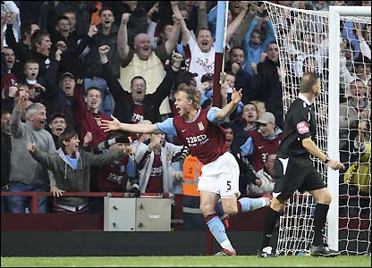 Laursen opens the scoring at Villa Park