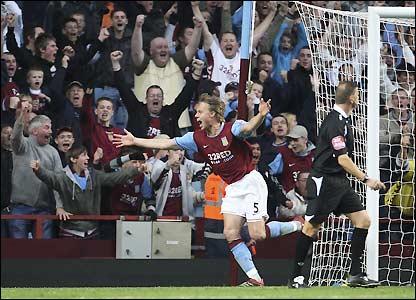 Laursen opens the scoring at Villa Park