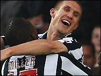 West Brom's Martin Albrechtsen celebrates his goal in the win over Watford with Ishmael Miller