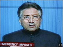 Pakistan President Pervez Musharraf makes a TV address, 3 November 2007