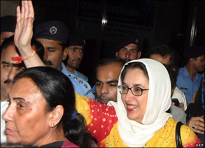 Former Prime Minister Benazir Bhutto arrives in Karachi - 3/11/2007