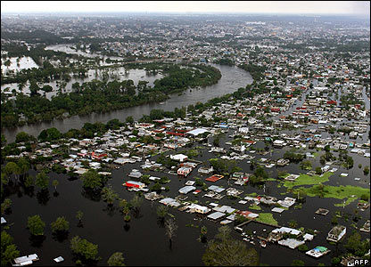 An aerial view of waterlogged Villahermosa on 3 November