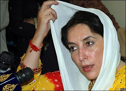 Opposition leader Benazir Bhutto at a press conference
