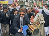 Pakistani lawyers celebrate the restoration of Chief Justice Iftikhar Mohammed Chaudhry, July 2007, Hyderabad, Pakistan