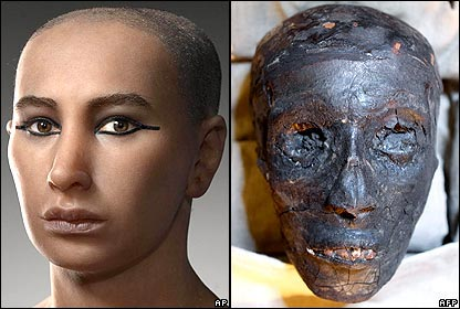 Composite image of King Tutankhamun's reconstructed and actual face