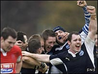 Scotland celebrate a try against Wales