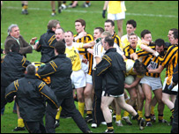 Tempers flared after the final whistle at Clones