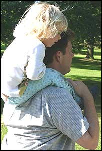 Child and father in a park