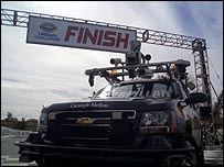 Boss, a driverless car, stands at the finish line after winning a robotic vehicle race in the Californian desert