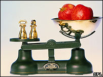 Two apples sitting on some kitchen scales