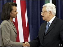 Condoleezza Rice (l) and Mahmoud Abbas (r)