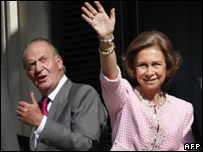 King Juan Carlos I of Spain and Queen Sofia stand on the balcony of the city hall during their visit to Ceuta, 5 November 2007