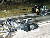 Two of the motorbikes involved in the accident on the A4212