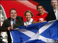 First Minister Alex Salmond, bowler Kay Moran, gymnast Steven Frew and sports minister Stewart Maxwell