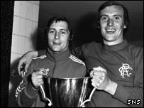 Rangers' goal heroes Willie Johnston and Colin Stein (right)