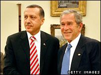 Recep Tayyip Erdogan and George W Bush meet at the White House, 5 Nov 2007