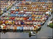 An aerial shot of a district in the flooded capital of Tabasco state, Villahermosa, in Mexico on Sunday