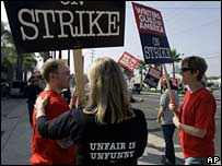 Hollywood writers picket outside the NBC studios in Burbank, California