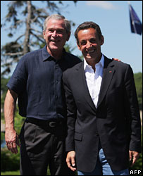 Presidents George W Bush and Nicolas Sarkozy in Maine, August 2007