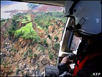 Helicopter pilot views scene of mudslide
