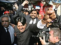 Lawyers protest in Islamabad on Tuesday 6 November 2007