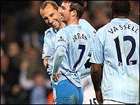 Manchester City's Stephen Ireland celebrates his winner
