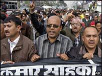 Journalists protest in Kathmandu