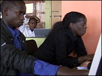 Sami Seram (left) at an internet cafe in Nairobi
