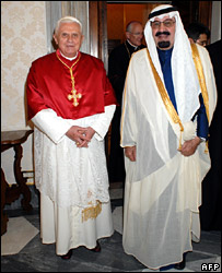 Pope Benedict XVI (left) and King Abdullah at the Vatican
