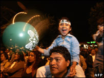 Colom supporters celebrate in the streets of Guatemala City