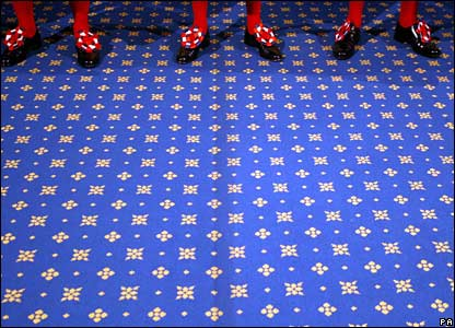 Yeomen of the Guards' feet are seen before they conduct a ceremonial search at the Houses of Parliament