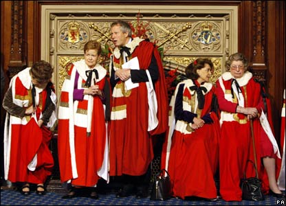 Members of the House of Lords wait in the Princes' Chamber for the State Opening