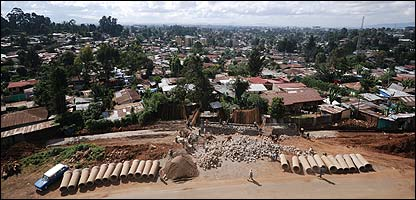 View of Addis Ababa with road construction in foreground