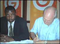 Nicholas Musonye and GTV's director of business Ronnie Andrews