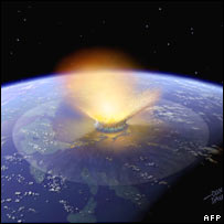 Artist's impression of asteroid impact. Image: AFP/Getty