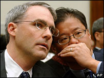 Yahoo's Michael Callahan and Jerry Yang at the House committee hearing