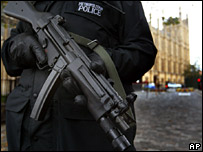 Armed police outside Parliament