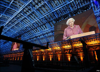 The Queen captured on giant screens inside St Pancras