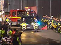 The guard of honour for the Warwickshire firefighters