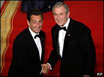 Nicolas Sarkozy and George Bush, 6 November 2007