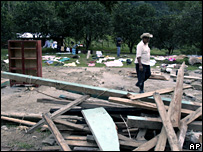 A villager walks through the wreckage of a house in San Juan Grijalva on 6 November 2007
