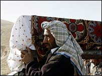 Relatives carry body of bomb victim at funeral in Baghlan province, 7 November