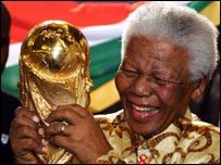 Nelson Mandela and the World Cup trophy